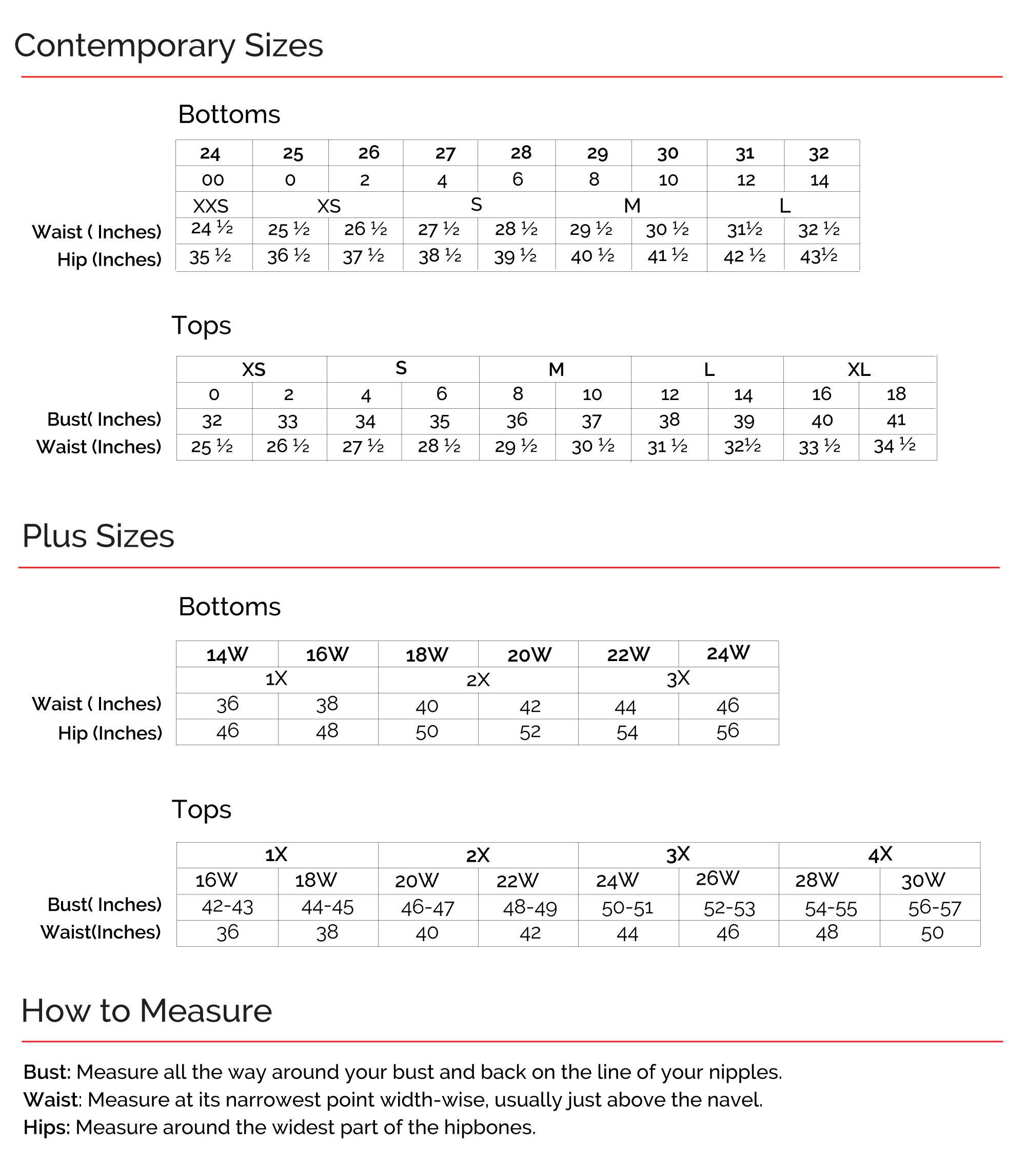 Shop Skinnygirl size chart for tops and bottom, and for  contemporary and plus sizes