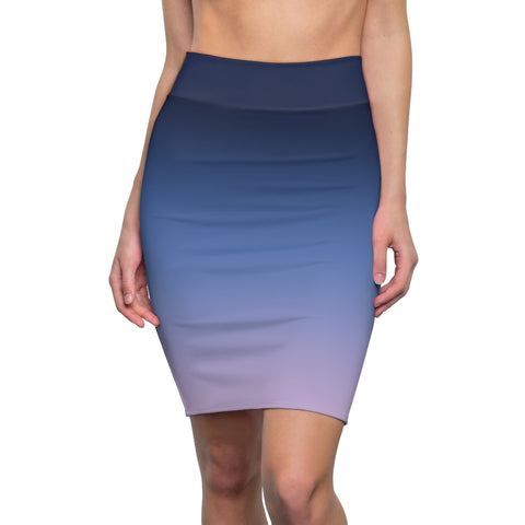 Women's Navy Lilac Ombre Stretch Pencil Skirt