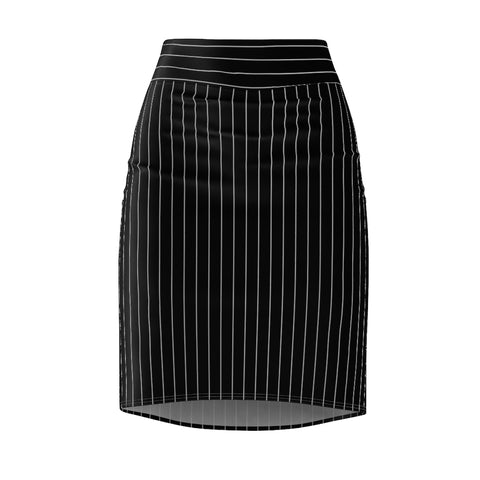 Women's Black Pinstripe Stretch Pencil Skirt