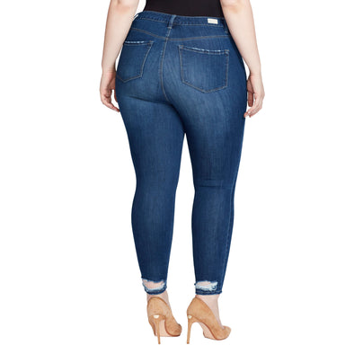 Highrise Skinny Ankle Jeans Back Hem Detail - Delancey (Plus)