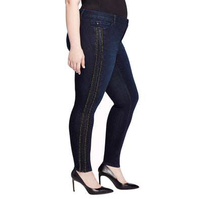 Skinny Leather and Chain Ankle Jeans - Madison (Plus)