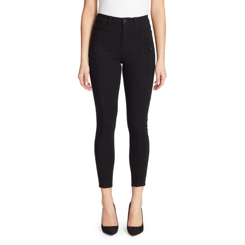 High-Rise Skinny Lattice Diamante Jeans - Black Rinse