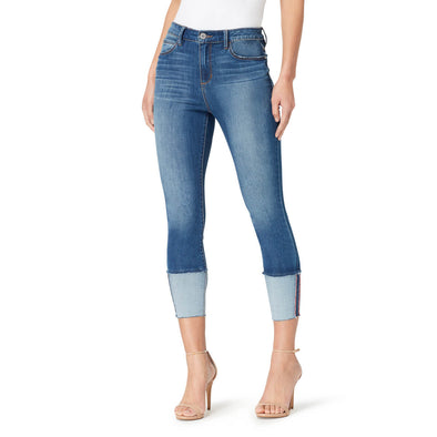 High-Rise Skinny Crop Jeans with Wide Cuff - Adelaide