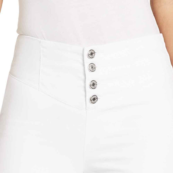 High-rise Skinny Corset Waist Jeans - White