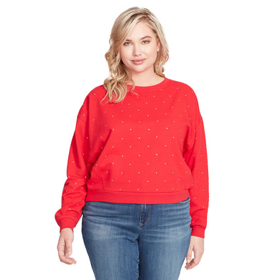 Vivika French Terry Studded Pullover - Red (Plus)