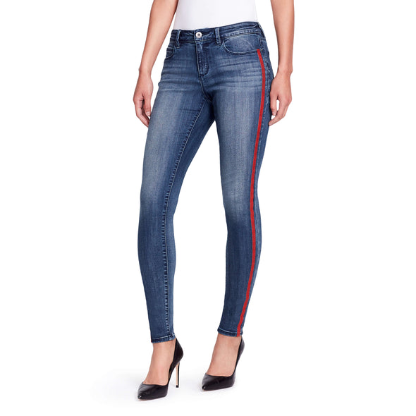 Skinny Jeans Hidden Message - Bowery - front/diagonal view highlighting red stripe on side