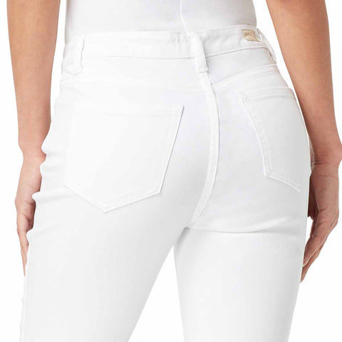 High-Rise Straight Crop Button Up Jeans - White