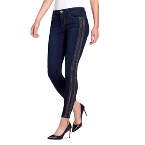 Skinny Leather and Chain Ankle Jeans - Madison - side view highlighting chain embellishment