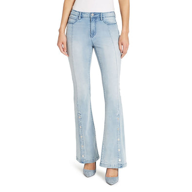 High-rise Flare With Snaps At Hem Jeans - Genesee
