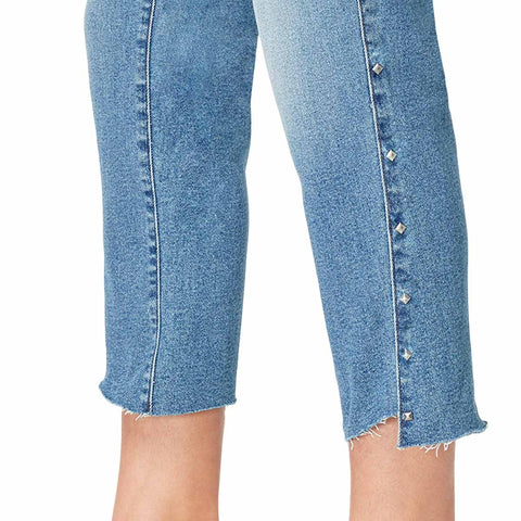 High-Rise Straight Crop Jeans with Shadow Pockets and Studded Side Panel - Sydney