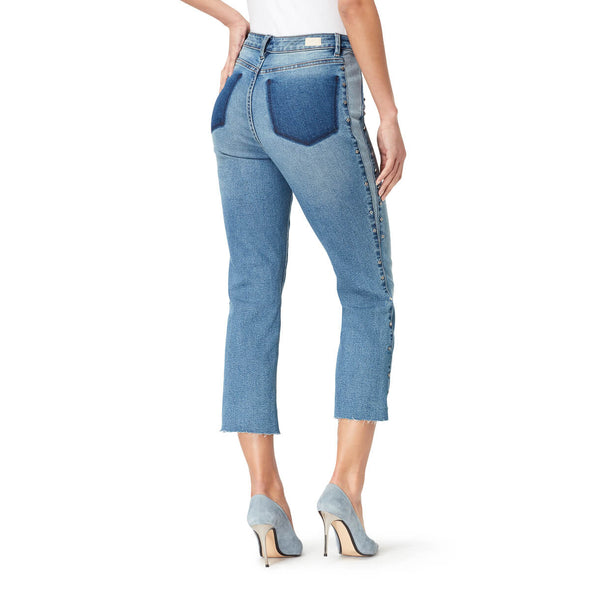 High-Rise Straight Crop Jeans with Shadow Pockets and Studded Side Panel - Sydney (FINAL SALE)