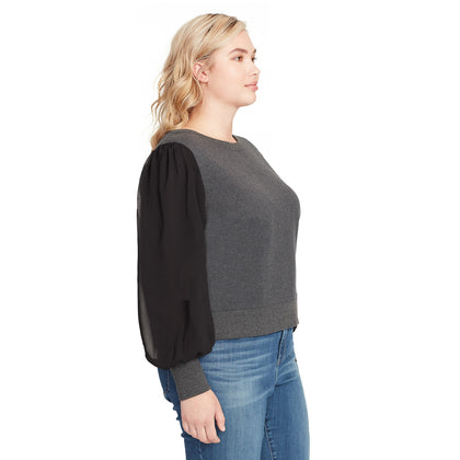 Crissy Pullover Top - Charcoal Grey (Plus)