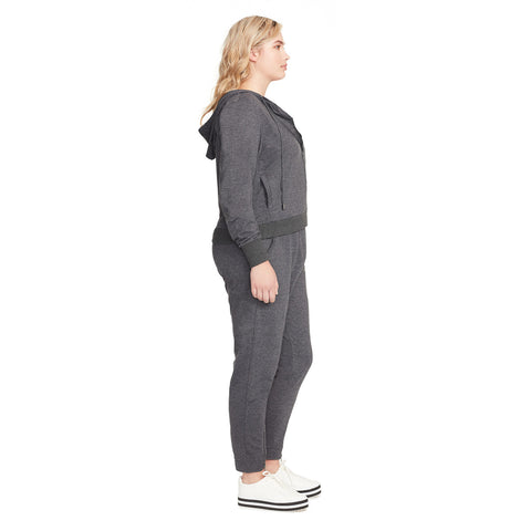 Courtney Moto Knit Hooded Jacket - Charcoal Grey (Plus)