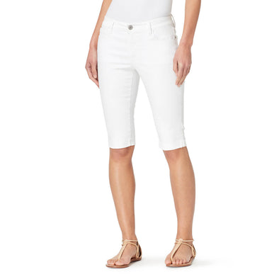 Mid-Rise Skinny Skimmer Shorts with Cuff - White (FINAL SALE)