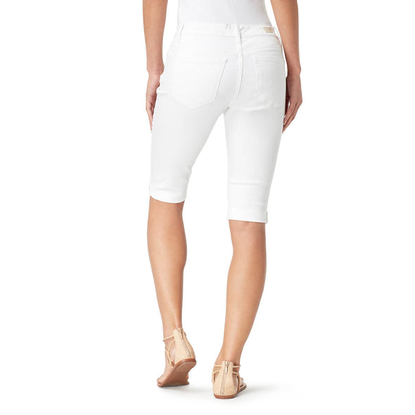 Mid-Rise Skinny Skimmer Shorts with Cuff - White