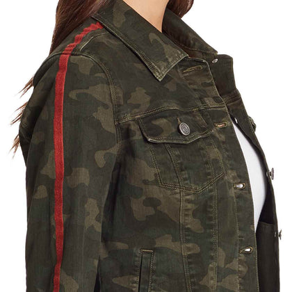 Classic Camo Jacket With Red Stripe - Olive Night
