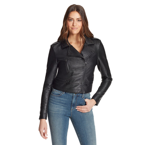 Cropped Moto Jacket - Black
