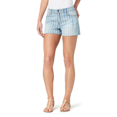Mid-Rise Girlfriend Striped Shorts with Frayed Hem - Brisbane