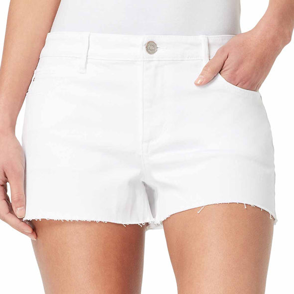 Mid-Rise Girlfriend Striped Shorts with Frayed Hem - White