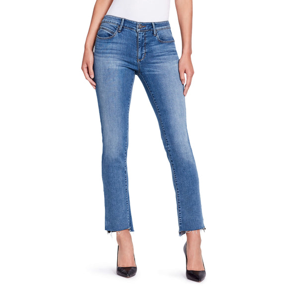 Two Tone Straight Zip Ankle Jeans - Mercer - front view