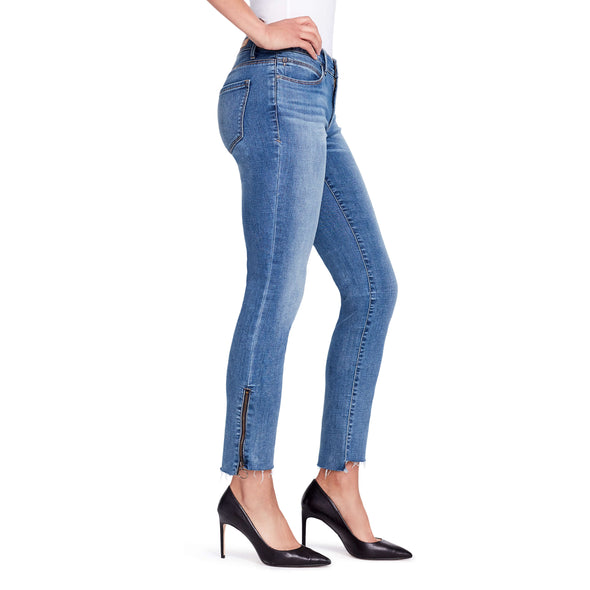 Two Tone Straight Zip Ankle Jeans - Mercer - side view highlighting ankle zipper detail