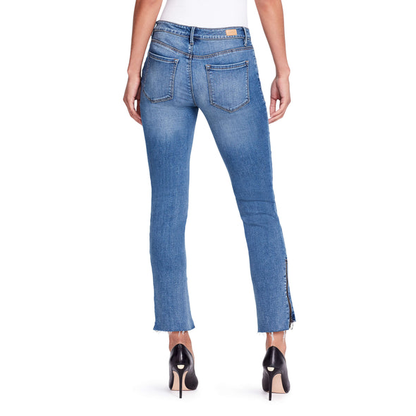 Two Tone Straight Zip Ankle Jeans - Mercer - back view