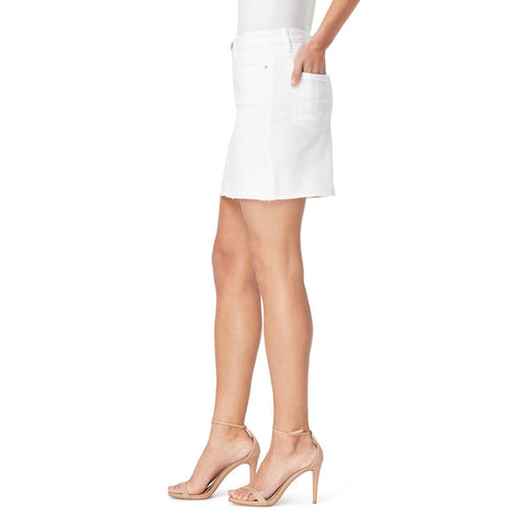 Straight Mini Skirt with Frayed Hem - White
