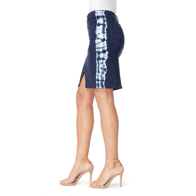 Pencil Skirt with Tie Dye Side Stripe - Ink