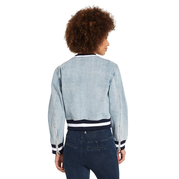 Denim Crop Bomber Jacket - Valence