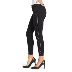 Mid-rise Studded Skinny Ankle Jean - Dante Black Rinse