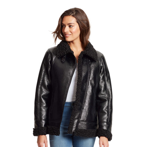 Wheatley Shearling Moto Jacket - Black