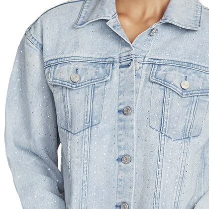 Denim Studded Crop Jacket - Genesee (Plus) (FINAL SALE)