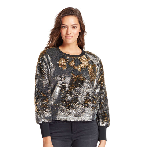 Meghan Flip Sequin Sweater - Silver/Gold