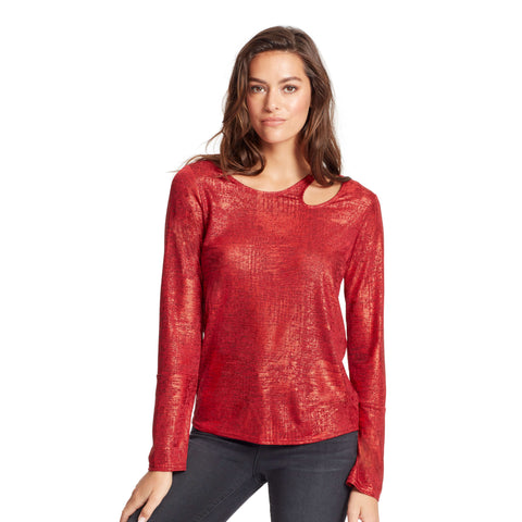 Paparazzi Neckline Cutout Top - Skinnygirl Red Foil