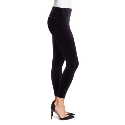 Bailey Mid-Rise Seamless Velour Pull On Pants - Black