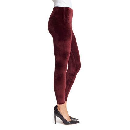 Bailey Mid-Rise Seamless Velour Pull On Pants - Black Cherry