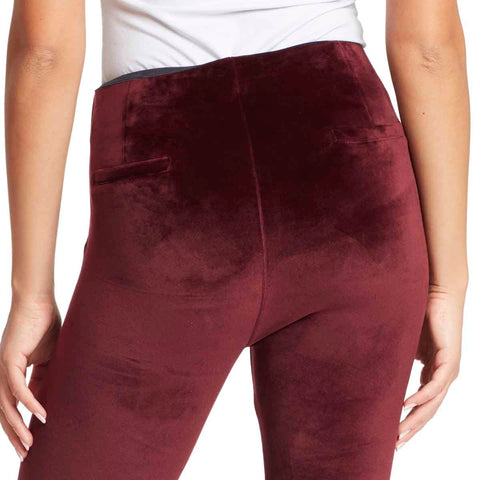 Bailey High-Rise Seamless Velour Pull On Pants - Black Cherry