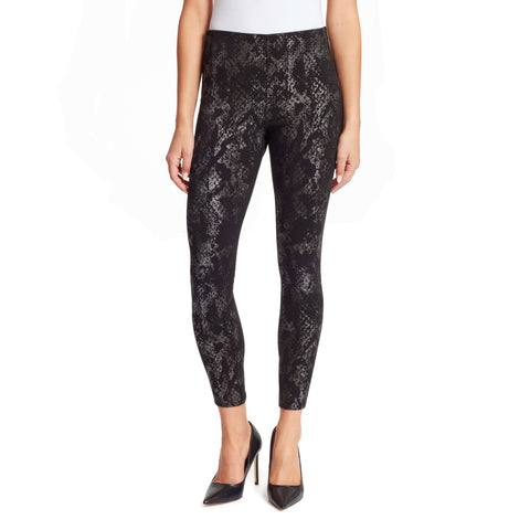 Bailey High-Rise Seamless Pull On Pants - Gunmetal Snake