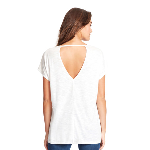 Amelie High-Low Shimmer Tee With Back Cutout - Cream