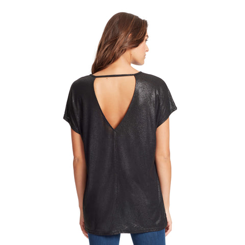 Amelie High-Low Shimmer Tee With Back Cutout - Black