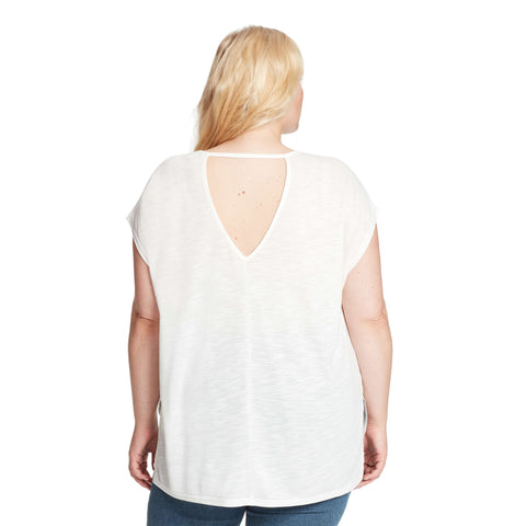 Amelie High-Low Shimmer Tee With Back Cutout - Cream (Plus)