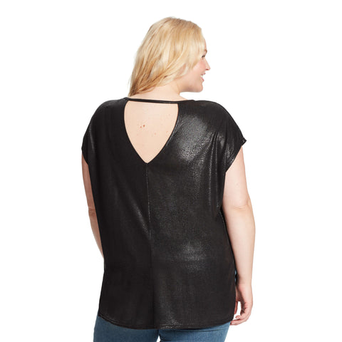 Amelie High-Low Shimmer Tee With Back Cutout - Black (Plus)
