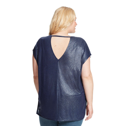 Amelie High-Low Shimmer Tee With Back Cutout - Sapphire (Plus)