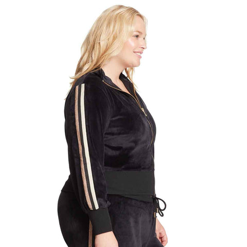 Live Velour Bomber Jacket - Black (Plus)