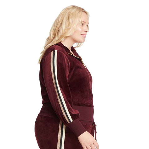 Live Velour Bomber Jacket - Black Cherry (Plus)