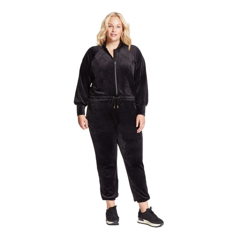 Cabaret Velour Jumpsuit - Black (Plus)