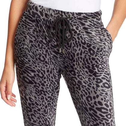 Perfect Printed Velour Pants - Black Leopard