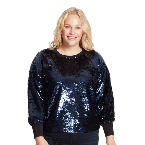 Meghan Flip Sequin Sweater - Black/Sapphire (Plus)