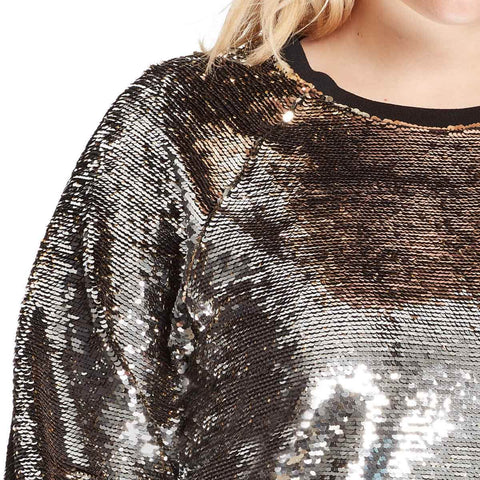 Meghan Flip Sequin Sweater - Silver/Gold (Plus)