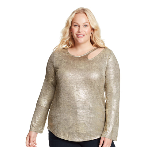 Paparazzi Neckline Cutout Top - Gold Foil (Plus)
